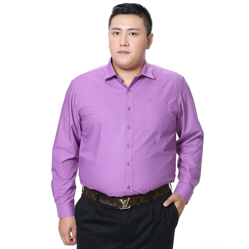 Big Large Size Men Dress Shirt With Pocket 2018 New Arrival Long Sleeve Slim Fit Solid Color High Quality Business Camisa