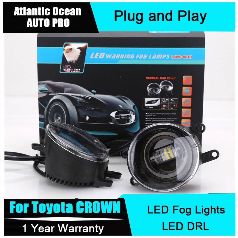 AUTO PRO Car Styling For Toyota CROWN led fog lights+LED DRL+turn signal lights LED Daytime Running Lights LED fog lamps car styling fog lights for toyota camry 2012 2014 pair of 12v 55w front fog lights bumper lamps daytime running lights