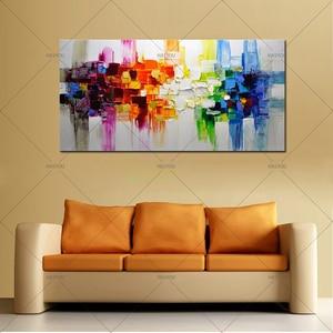 Image 3 - Kerst Abstracte Moderne Landschap Handgemaakte Kleurrijke Abstracte Stijl Dikke Olieverf Op Canvas Voor Home Decoratieve Wall Art