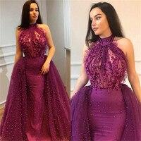 2018 Mor Tül Arapça Akşam Elbise Yüksek Boyun Kapalı Omuz İnci Illusion Kat Uzunluk Mermaid Balo Abiye Custom Made