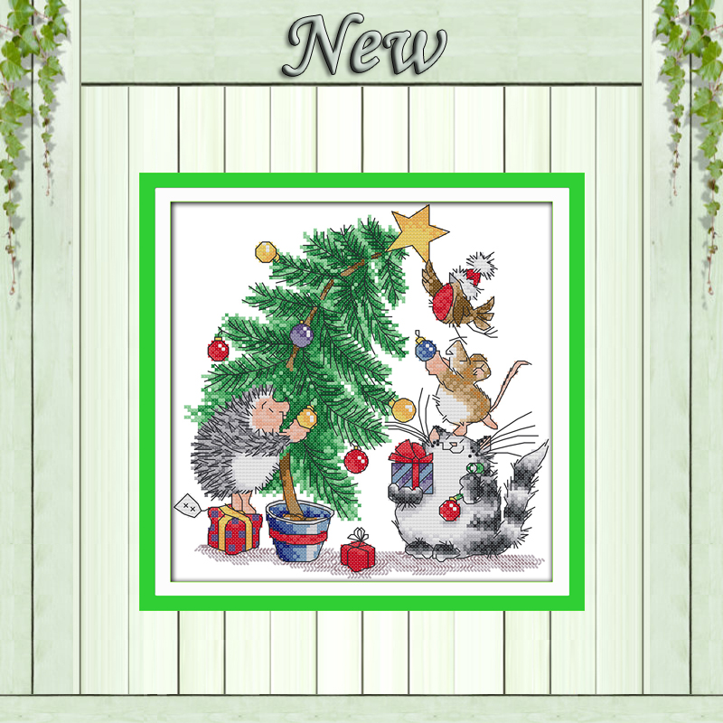 Christmas gift cat mouse Hedgehog bird painting counted print on canvas Cross stitch DMC 14CT 11CT Needlework Set Embroider kits