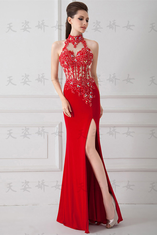 free shipping vestido de festa robe de soiree 2016 new fashion hot sexy red long crystal chiffon lace party gown   evening     dresses
