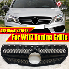 For Mercedes W117 sports grille grill ABS Gloss Black CLA45 Look Without Sign CLA Class CLA180 200 250 Front Bumper Grills 14-18