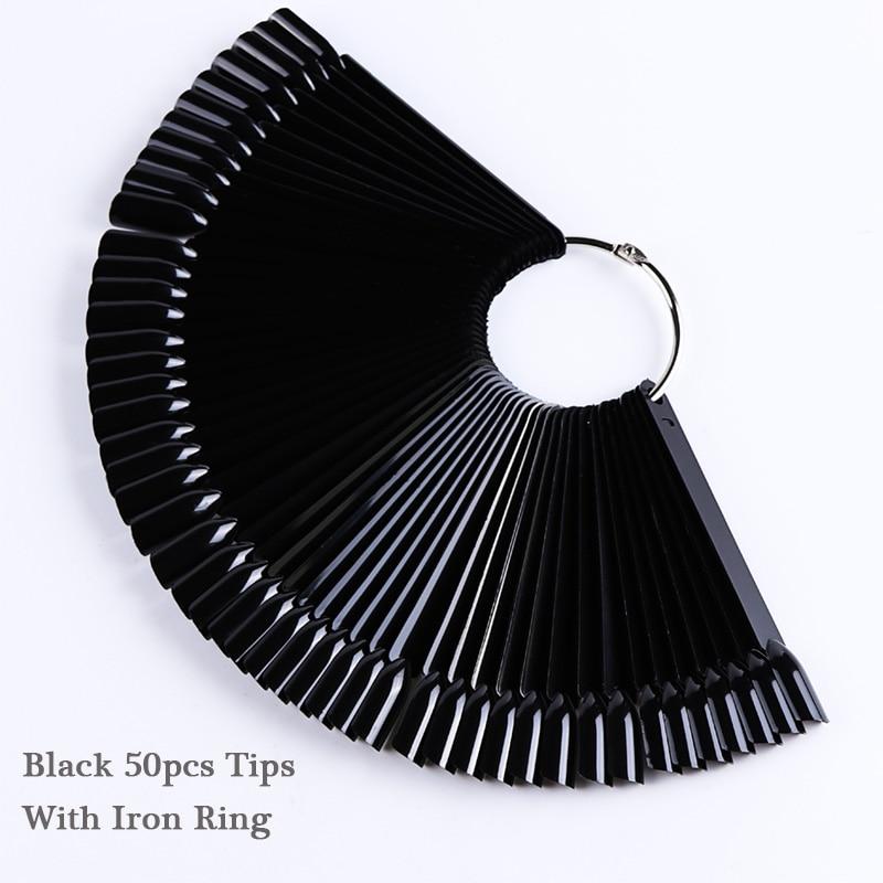 1 Набор накладных насадок для ногтей, натуральный прозрачный черный веер, на палец, полная карта, для дизайна ногтей, для практики, акриловый УФ-Гель-лак, инструмент для маникюра JI386 - Цвет: 07