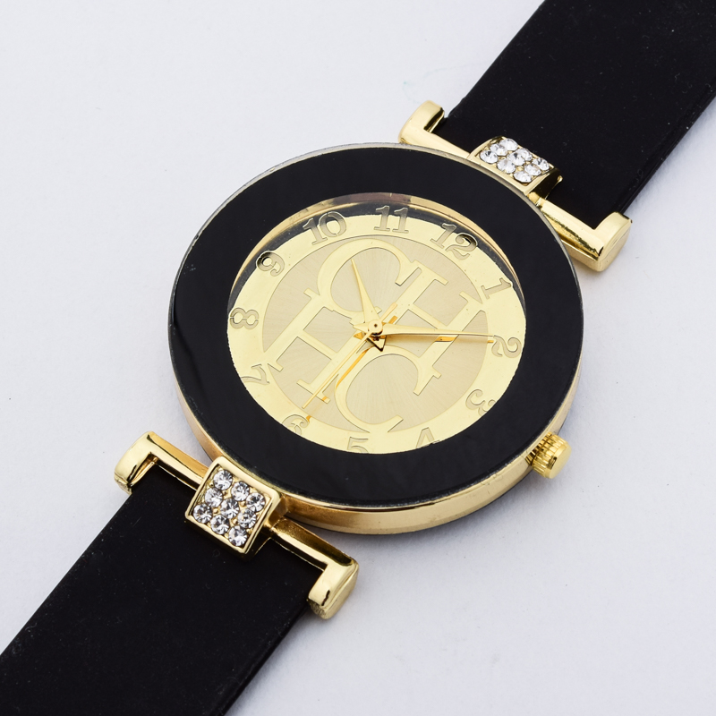 Ladies Simple Crystal Geneva Leisure Quartz Silicone Watches Dress Watches