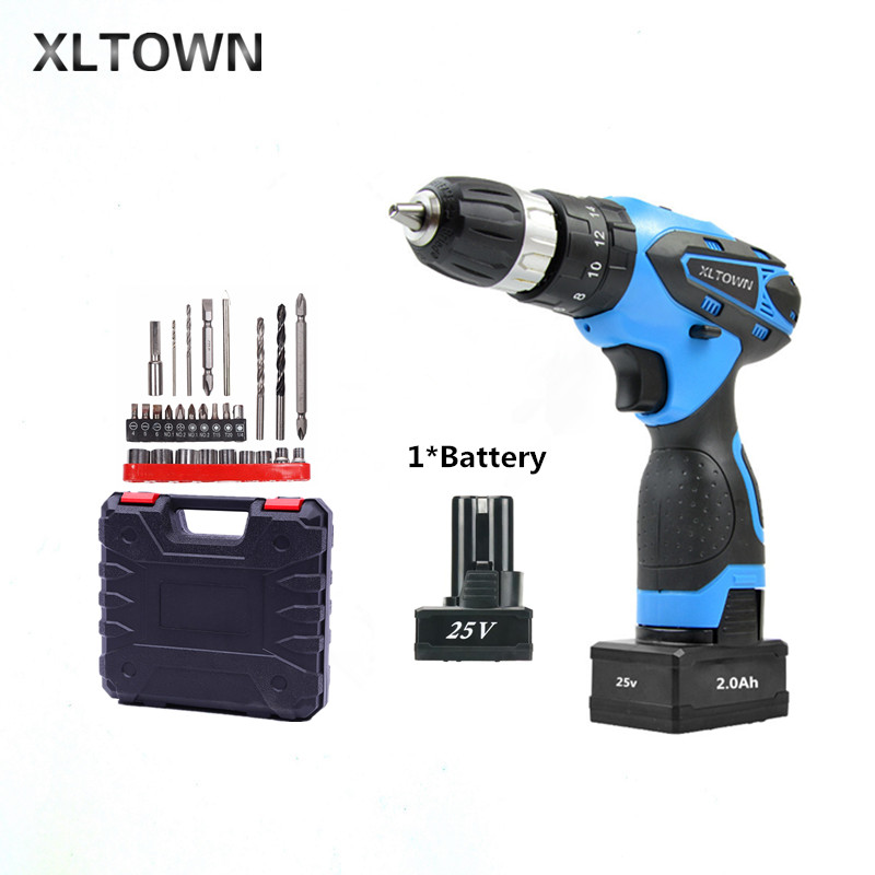 XLTOWN 25V 2000mA Impact Drill with bits Rechargeable Lithium Battery Multifunction Electric Screwdriver Household Power Tools xltown 25v electric screwdriver home multifunction electric drill rechargeable lithium battery electric screwdriver power tools