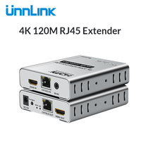 Unnlink UHD 4K 120M HDMI Extender Ethernet Extension LAN CAT5E/6 RJ45 Network Cable with IR Sensor for LED tv mi box projector