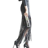 Femmes Long Suede Gland Maxi Jupe 2017 Nouveau Printemps Mode Style coréen de Haute Taille Mince Hanche Paquet Crayon Jupe Saia Faldas
