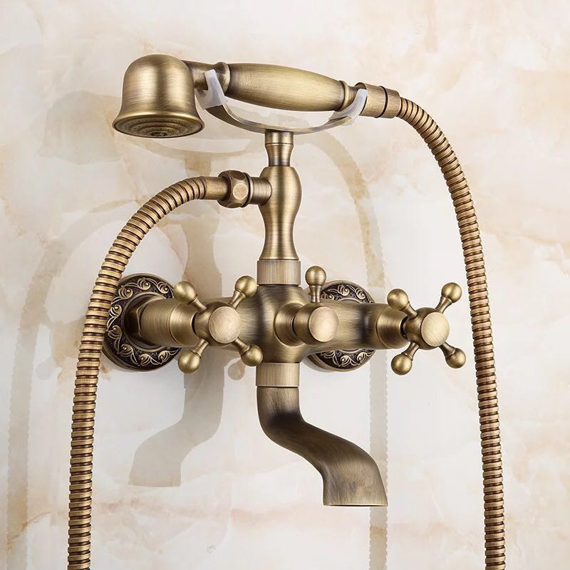 Us 47 16 11 Off Antique Bath Shower Faucet Bronze Porcelain Bathroom Telephone With Hand Tap In