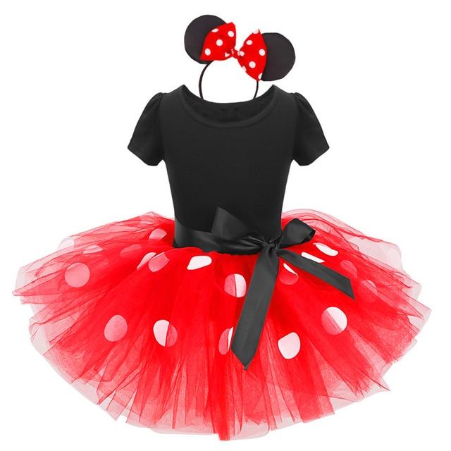 1db903b99 2pcs Baby Girl Clothes Set Short Sleeve Polka Dot Minnie Mouse Dress  Headband Baby Girls Birthday Mickey Mouse Cake Smash Outfit