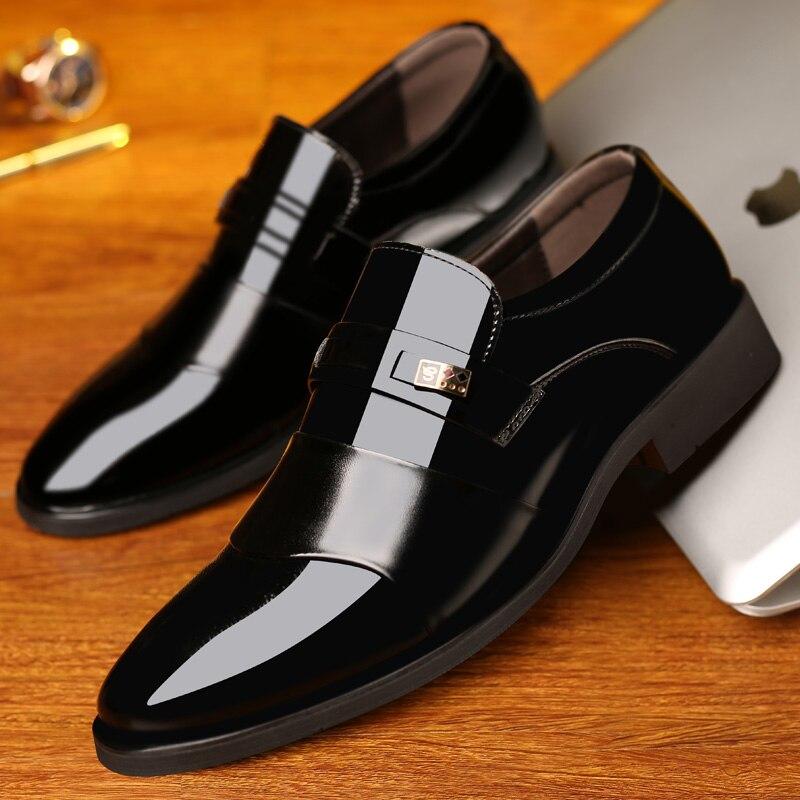 Chaussures habillées pour hommes en cuir sans lacet belle classique marron noir chaussure homme élégant fête mariage et affaires bureau chaussures formelles pour hommes - 6