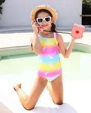 MAICO Rainbow Swimwear for Girls One Piece, Hot Silver Unicorn Beach Sport Swimming Suits