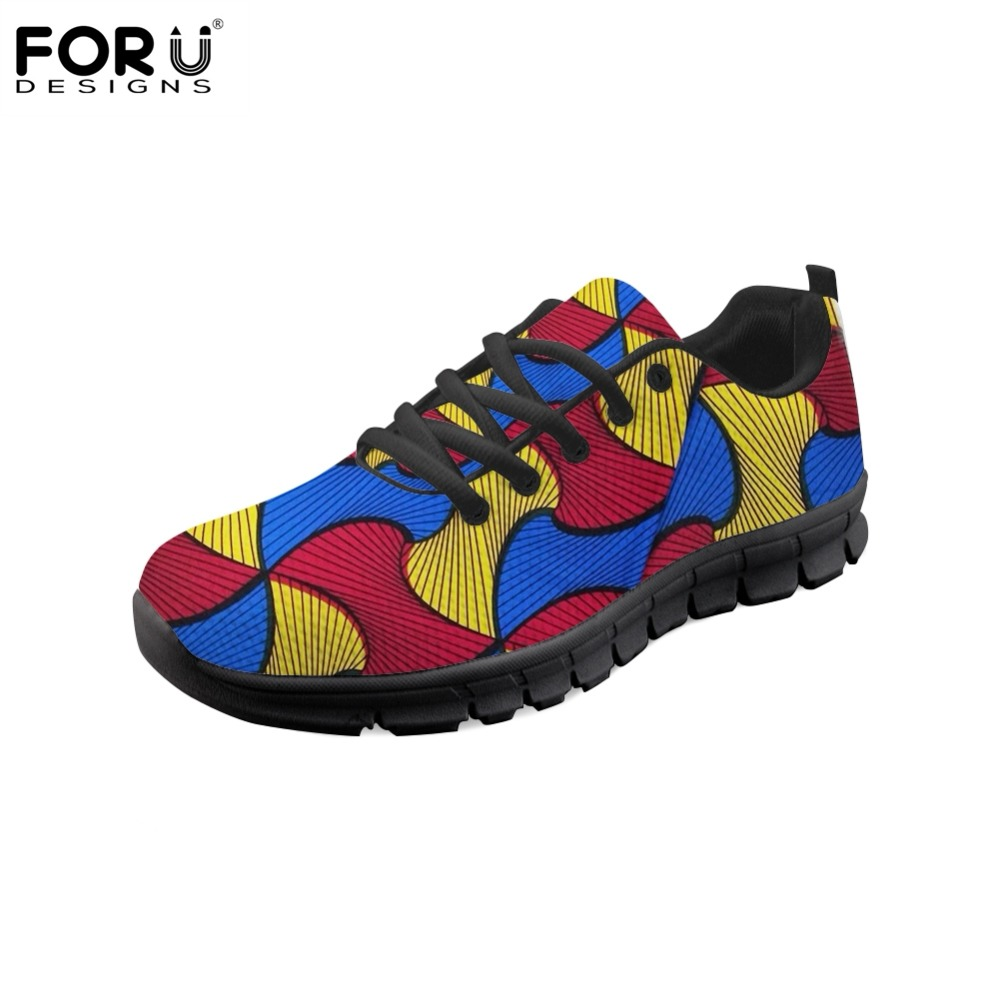 FORUDESIGNS 2018 HOT African Print Tribal Ethnic Fashion Brand Women Flats Shoes Sneakers Casual Women's Comfortable Mesh Summer tribal print u back bodycon dress