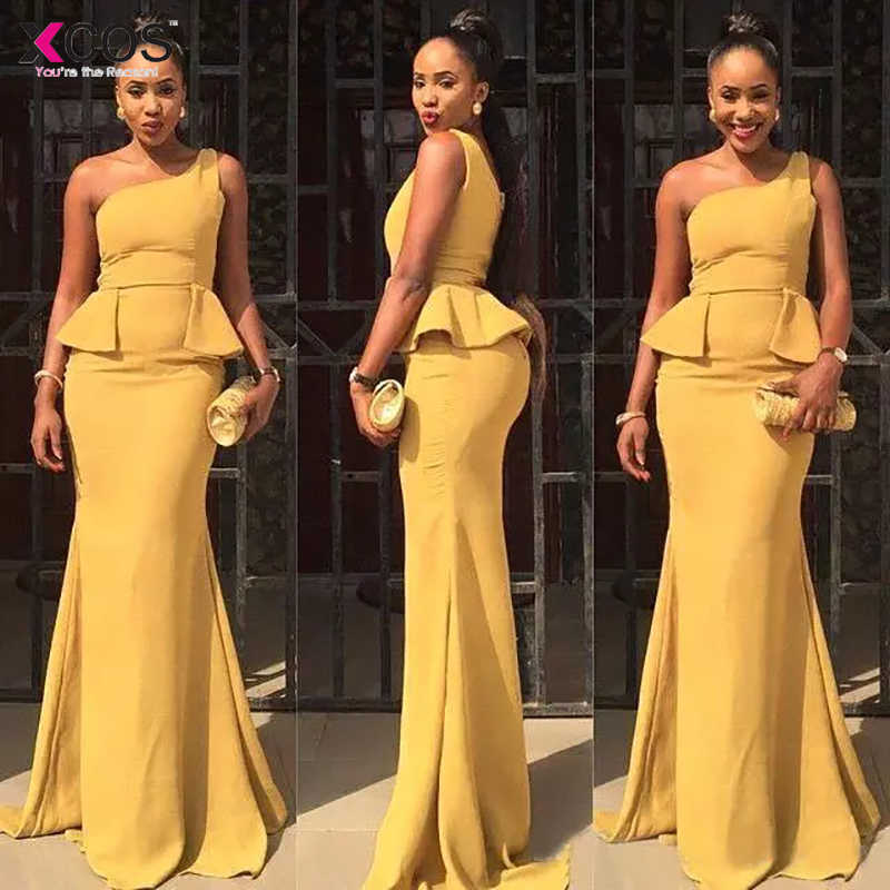 9dc3099b40f3 ... 2018 Turmeric Mermaid Prom Dresses Long Cheap One Shoulder Chiffon  Formal Party Evening Gowns With Peplum ...