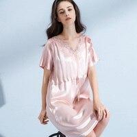 Ladies 100% Real Silk Sleepshirts Nightgown for Women 2019 Robe Sleepwear Bedgown Nightdress Natural Pure Silk Nightdress Robes