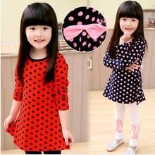 Envío gratis venta caliente de moda otoño chica de primavera de ropa de manga larga Polka rojo y azul oscuro
