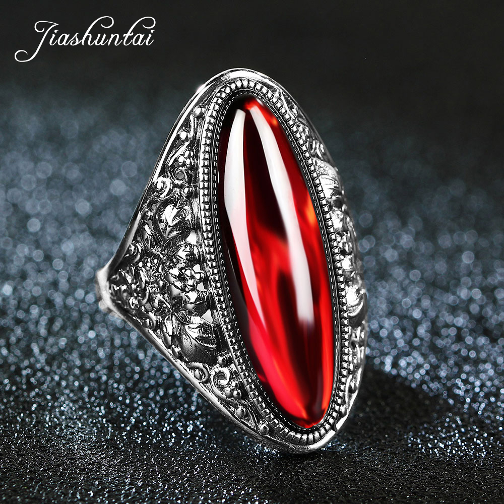 JIASHUNTAI Retro Silver Rings For Women Vintage Big Rings 100% 925 Sterling Silver Jewelry Female 4 Color Best GiftsJIASHUNTAI Retro Silver Rings For Women Vintage Big Rings 100% 925 Sterling Silver Jewelry Female 4 Color Best Gifts