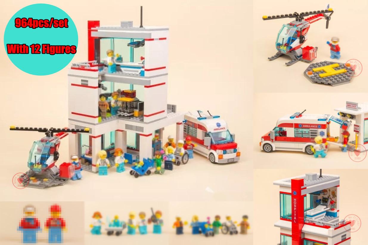 New City series Love Hospital fit legoings city Hospital figures ambulance Model Building Blocks Bricks 60204 DIY toys kid Gifts