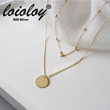 Loioloy Genuine 925 sterling silver double layers round charm rolo chain necklace for women