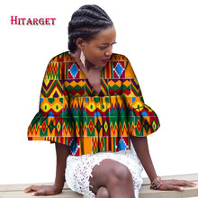 Fashion Autumn African Women Trumpet Sleeves V Neck Top Clothing Bazin Riche Wax Print High Waist Clothes WY1597