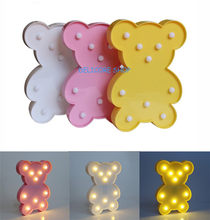 Novelty LED Bear Night Lamp Lovely Bedroom Wedding Party Decor Baby Kid Sleep Lighting Children's Day Cute Gift Battery Operated(China)