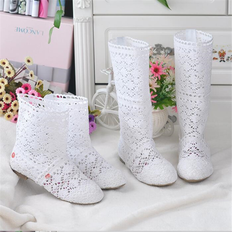 2019 Spring And Autumn Knitted Hollow Boots Flat Bottom Mesh High / Low Tube Breathable Fashion Lace Boots Women's Shoes