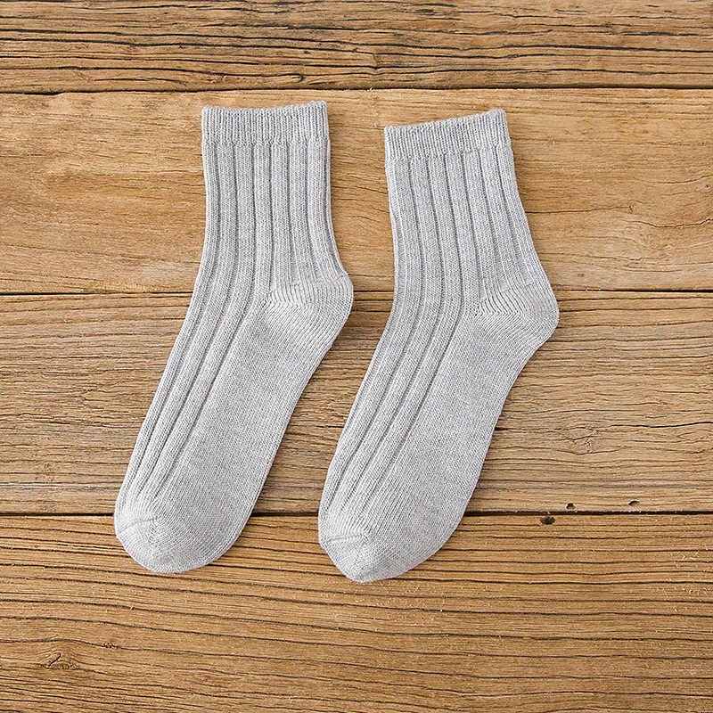 สตรีถุงเท้าสั้นผ้าฝ้ายของแข็งลูกอมสีคู่เข็มเข็มถักประจำวันคุณภาพสูงฤดูใบไม้ร่วงฤดูหนาวถุงเท้าอบอุ่น 6A0931