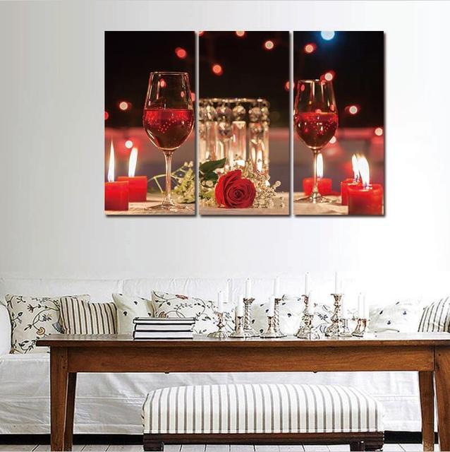 Arte De La Pared Cuadros 3 Unidades Moderno Vins Lienzo Pinturas Vino Tinto  Copa Botella Set