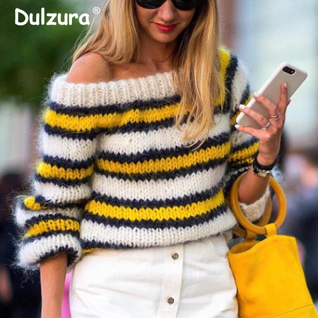 2018 Winter Brand Fashion Sweaters Pullovers Women Sexy Off Shoulder  Knitted Tops Chic Yellow Striped Cozy Mohair Jumpers Femme 56d1154a7