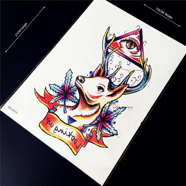 079 1 Unid Ojo De Horus Dios Falso Impermeable Tatuaje Temporal Etiqueta Cuerno De Ciervo Hombres Brazalete Cuerpo Manga Del Brazo Flash