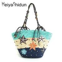 MeiyaShidun Floral Printed Handbags Straw Tote Female Single Shopping Bags Large Capacity Women Beach Bags Casual