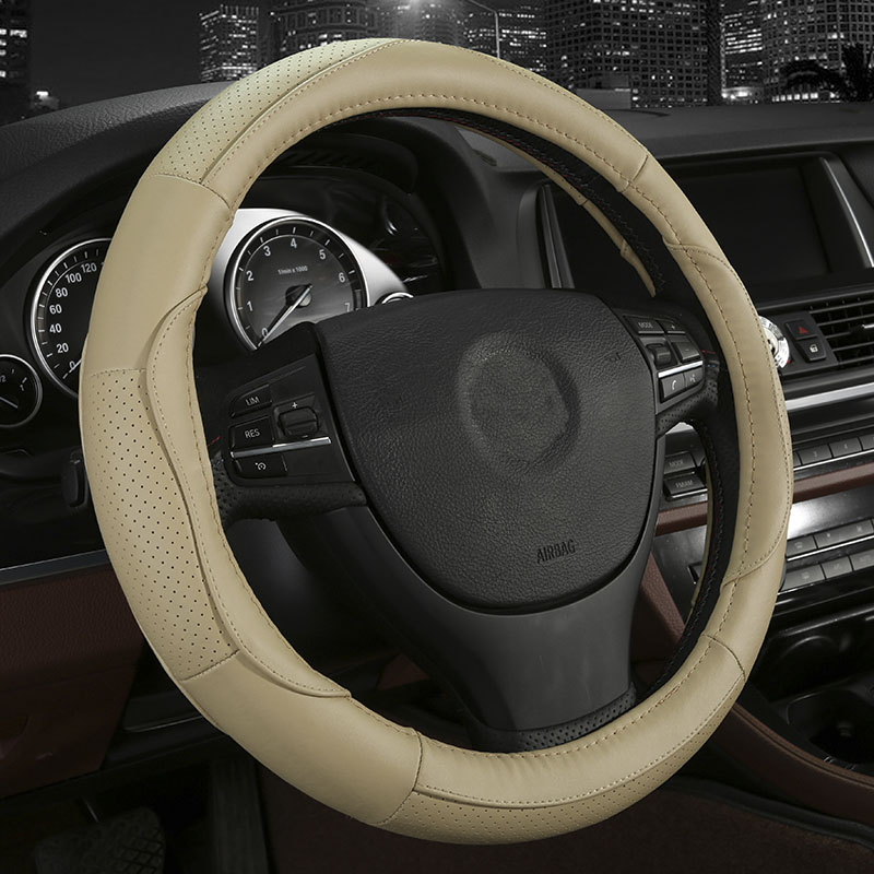 4colors Cowhide Car Steering Wheel Cover Size 38cm For Toyota Rav4 Corolla Prius Camry Crown Vios Mark X Auris Styling In Covers From