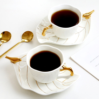 European High grade Coffee Cup and saucers Bird Bone China Coffee Cup Flower tea cup with Saucer and Spoon Coffee Tea Sets