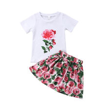 Cute Kids Baby Girls Outfits Flower Clothes T-shirt Tops + Floral Dress Skirt 2PCS Summer New Baby Clothes Sets new 2016 new 2pcs toddler baby girls infant outfits tops t shirt skirt dress kids clothes set tracksuit for girls clothing sets
