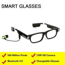 Смарт-очки, видеокамера, bluetooth-гарнитура 4,0, гарнитура, синхронизация телефонных звонков, gps, Подсказка, музыка, будильник для сна, для телефонов IOS, Android