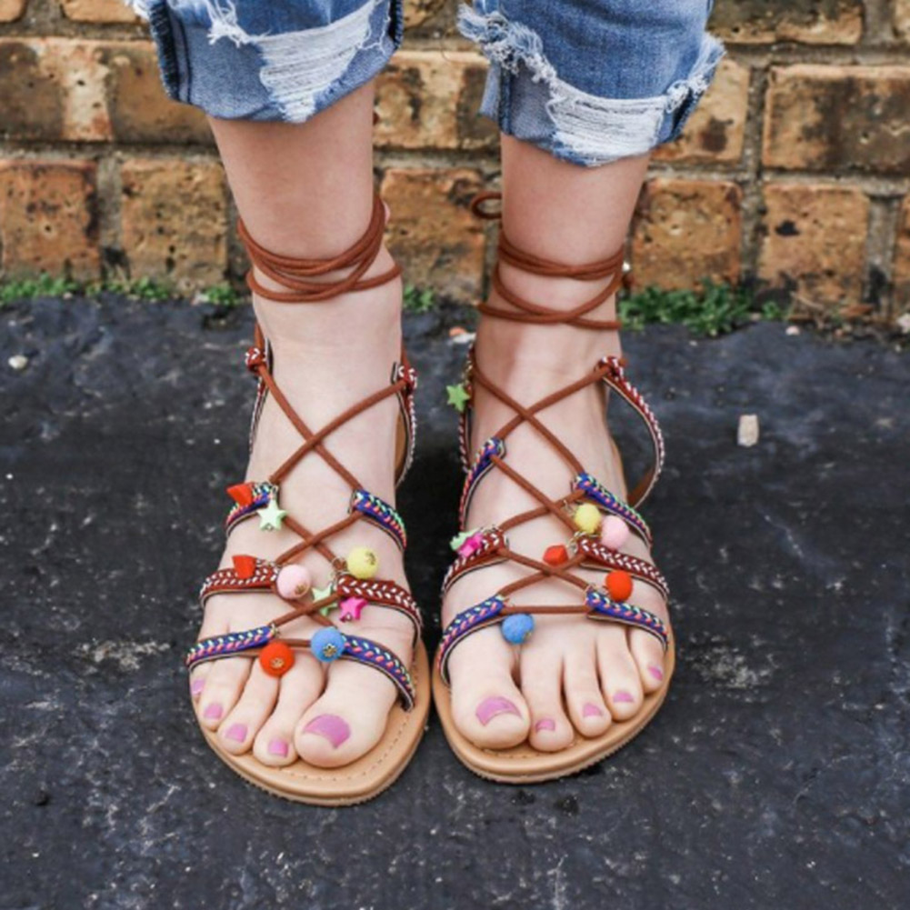 Women Pom Sandals Casual Lace Up Shoes