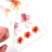 1 Sheet 3D Rose Gold Fish Goldfish Flower Girl Tatto Stickers Flash Tatoo Fake Tattoos Waterproof Temporary Tattoo