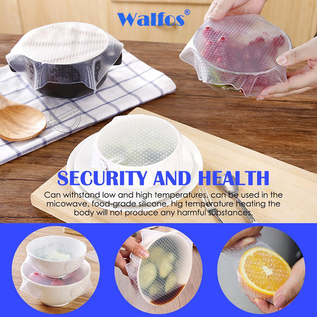 WALFOS food grade Keeping Food Fresh Saran Wrap Reusable high stretch Silicone Food Wraps Seal Vacuum Cover Stretch Lid