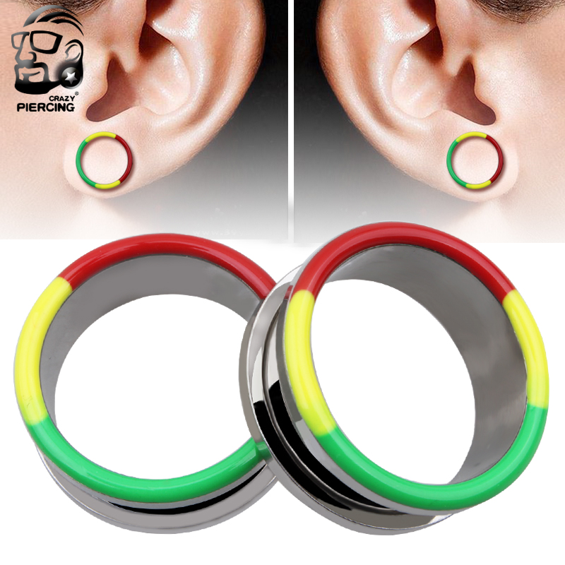 New Style Double Rainbow Ear Expander Body Piercing Jewelry Trendy Stainless Steel Plug Tunnel Jewelry Ear Gauges 6mm-25mm
