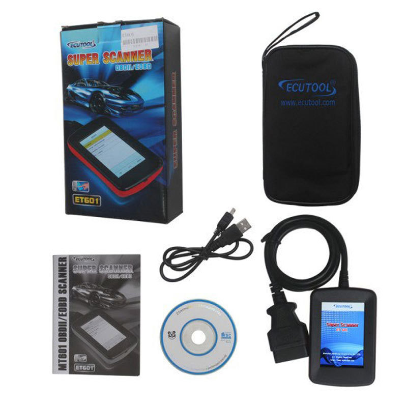 Handheld ECUTool ET601 Super Scanner OBDII/EOBD LCD Car Diagnostic Tool obd2 ET 601 clears codes and resets monitors kw807 2 8 lcd obdii eobd car diagnostic auto scanner red black