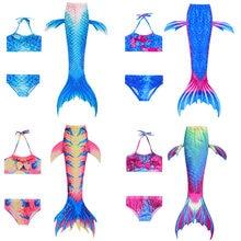 Traje De baño De Cola De Sirena para niñas, conjunto De 3 uds. De disfraz De aleta, zeemerminstaart, Cola De Sirena, Cauda De Sereia para nadar
