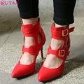 VINLLE 2015 Las nuevas mujeres del diseño de las bombas de la correa del tobillo de la moda modernos sexy zapatos de dedo del pie en punta mujeres del alto talón zapatos de fiesta de tamaño 34-43
