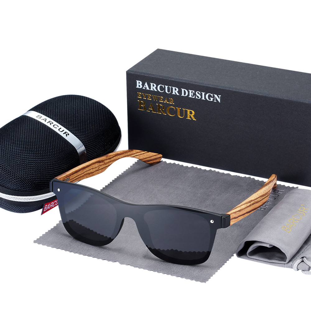 BARCUR Luxury Vintage Sun Shade Men Wooden Sunglasses UV400 Protection Fashion Square Sun glasses Women 9
