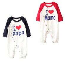 Одежда для новорожденных; зимний хлопковый комбинезон с длинными рукавами и принтом «I love mama papa» Для малышей; bebe; Одежда для мальчиков и девочек; костюм для малышей