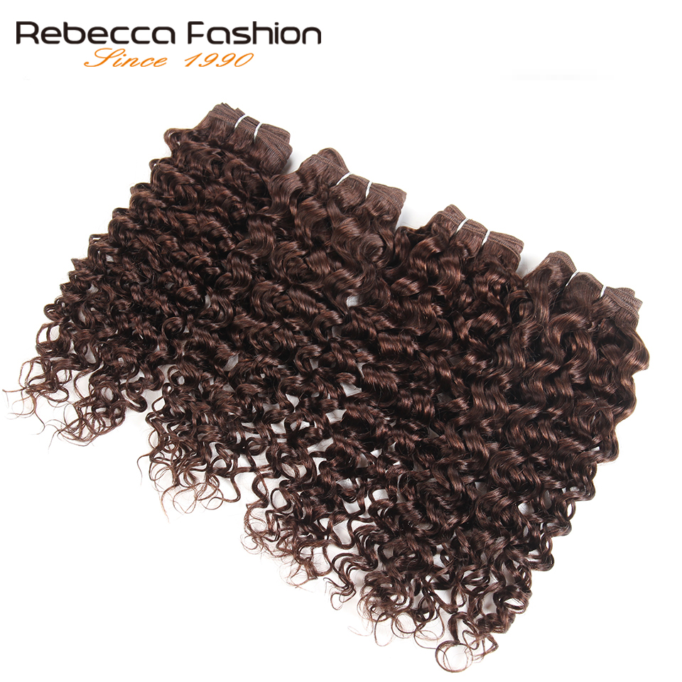 Rebecca Malaysian Jerry Curly Wave Weave Hair 4 Bundles 190g/ Pack Non Remy Curly Human Hair Bundles 4 Colors #1 #1B #2 #4