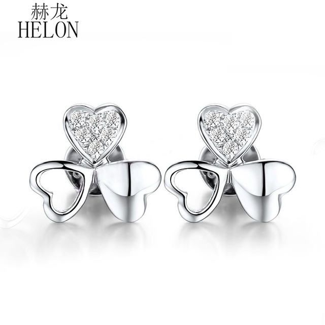 HELON Real 18K White Gold Pave Delacate Clover Jewelry Eternity Natural Diamond Fine Earrings Engagement Wedding Women's Jewelry