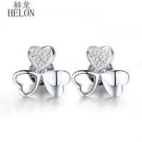 HELON Real 18K White Gold Pave Delacate Clover Jewelry Eternity Natural Diamond Fine Earrings Engagement Wedding