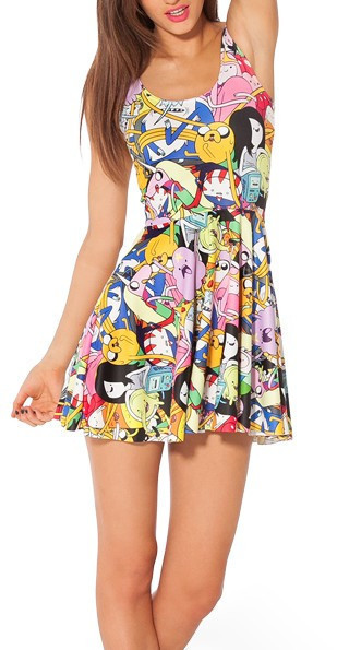 Monkey King 2014 Fashion Women's digital print pleated Adventure Time Bro Ball Reversible Skater Dress Sexy S-M-L-XL Plus Size
