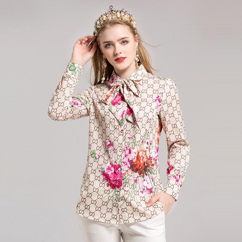 2017 Autumn Korean Fashion Bow Women's Tops And Chiffon Blouse