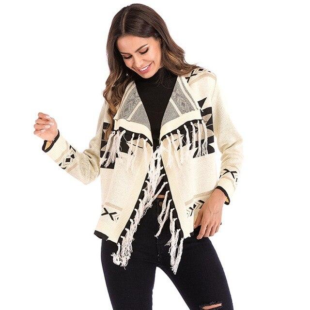 3b2926fdf968 Boho negro Casual punto Cardigan mujeres otoño invierno cálido moda Top  abrigo de calle alta suelta